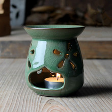 Fine ceramic oil aromatherapy blue china cracking glaze oil burner celadon candle holder