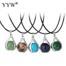 YYW Hot Sale Lucky Natural Opal Tiger Eye Malachite Turquoises Stone Beaded Hand Love Family Peace Pendants Jewelry Necklaces