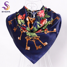 [BYSIFA] Navy blue Headband Head Scarf 2016 New Key Pattern Beautiful Scarves 90*90cm Wholesale Cheap Women Winter Scarves Wraps