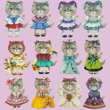 Cute cat patches fabric for DIY wallet offset printing iron-on cloth sticker