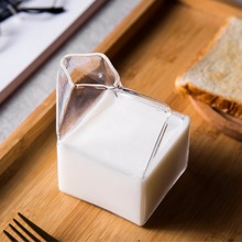 250ml Transparent Glass Milk Box Cups Innovative Milk Cartons Novelty Milk Coffee Juice Cup Crystal Breakfast Drinking Ware(China)