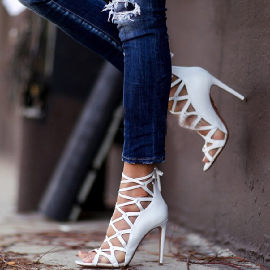 Gauze Mesh Criss Cross Strap Brand New Leather Shoes Spring Lace Up Peep Toe High Heel Sandals Gladiator Rome Summer Boots 35-40<br><br>Aliexpress