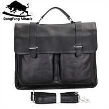 DongFang Miracle Vintag men Briefcase Genuine leather Business Shoulder Bags Quality Stylish Brand Handbags Tote Bag for Man(China)