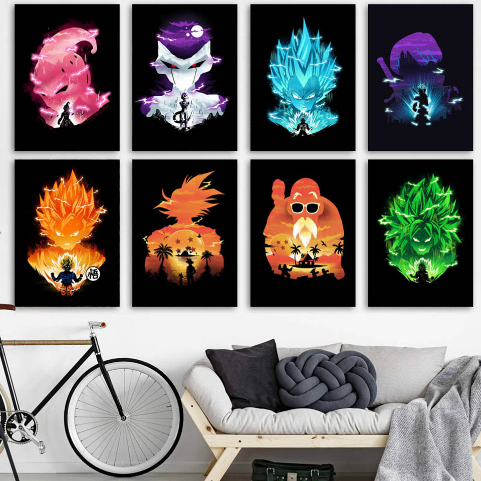 Dragon-Ball-Super-Vegeta-Son-Goku-Anime-Nordic-Posters-And-Prints-Wall-Art-Canvas-Painting-Wall