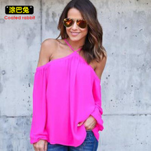 Buy Coated rabbit women chiffon blouse shirt 2018 summer halter sexy shoulder three quarter sleeve casual top female party