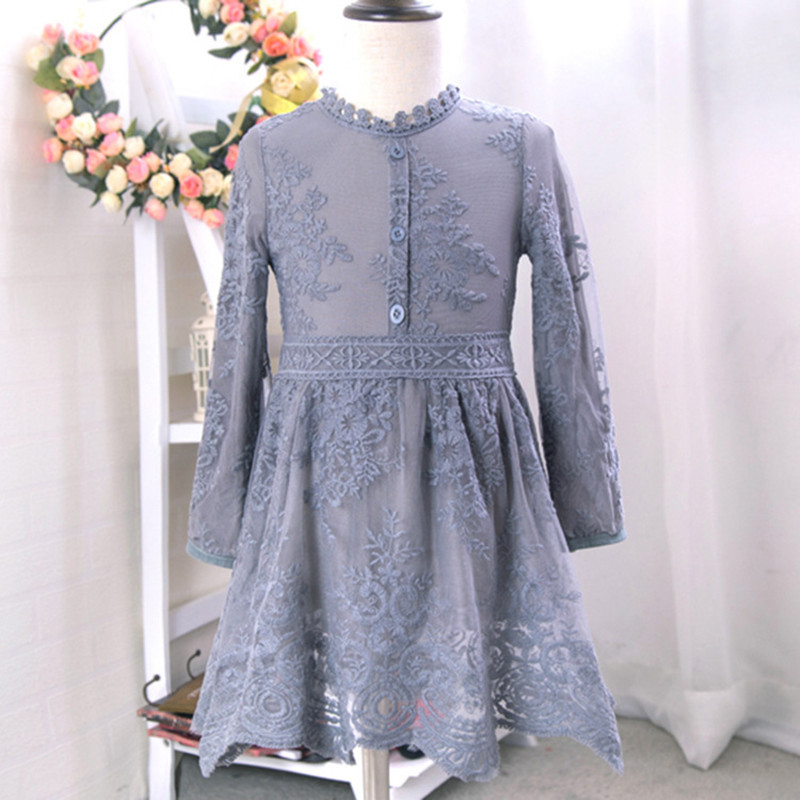 Spring girl lace dress with long sleeves baby clothes beautiful princess dress children 2 to 7 years<br><br>Aliexpress