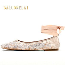 BALUOKELAI Flat Shoes Woman Ballet Flats Ballerinas Casual Shoe Satin Straps Fashion Spring Ladies Shoes FS-0174(China)