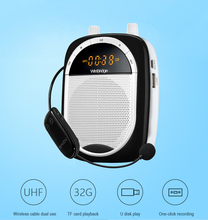 UHF Rechargeable Wireless Voice Amplifier Portable Pa System with Waist/Neck Band & Belt Clip for Teachers Tour Guides, Traine
