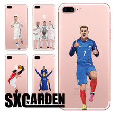 SXGARDEN For iPhone 5 5C SE 6 6S 7 7 Plus Transparent Cartoon Capa FIFA FA Sport Star Cristiano Ronaldo Football Soccer - 020163