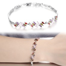 White/Multicolor Wedding CZ Diamond Bangle Bracelet Fashion Vintage Women Wedding Jewelry 18cm With Extension