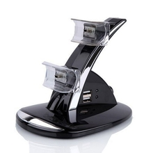New Black PVC Material LED Dual 2 USB port Charging Dock Station Stand For PS3 Controller For Playstaion 3 Great Charger