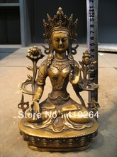 FREE SHIPPING [Nice Discount ] Collections Buddha Bronze Statue 21CM beautiful green Tara