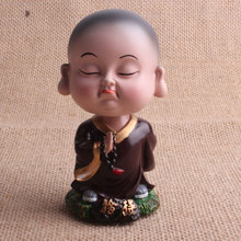 resin buddha statues China with not grudge Young Buddhist Monk bobble head Figurines(China)