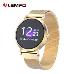 LEMFO 1,0 дюймов маленькие Смарт-часы женские водонепроницаемые фитнес-браслет «Умные» Часы для Android IOS Миланский ремешок носимые устройства