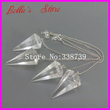 5pcs Rock Crystal Quartz Point Pendulum Dowsing Crystal Point Pendant with Silver Chain Healing Chakra Reiki Pendant Pendulum