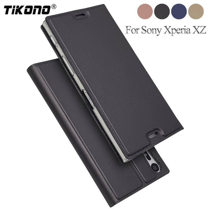 "TIKONO Luxury Flip Leather Case Sony Xperia XZ Case F8331 Dual F8332 Protective Stand Cover Sony XZ 5.2"" Phone Cases"