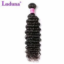 Luduna Deep Wave 8-28inch Malaysian Hair Weave Bundles Human Hair Bundles 1pcs/lot Non-remy Hair Extension Can Be Dyed(China)