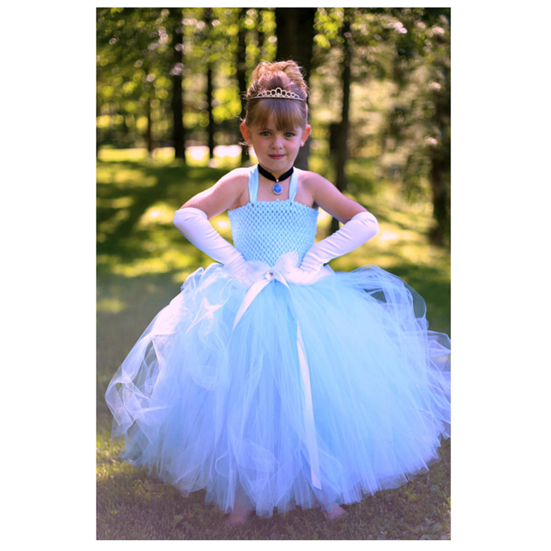 Hot Sale Girl Performance Clothes Cinderella Dress Cinderella Costume Light blue Princess Girl Tutu dress for Halloween 2-10year<br>