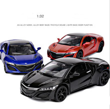 High simulation 1:32 scale pull back Honda Acura alloy car, 3 open door music flash car model toys,metal diecast, free shipping