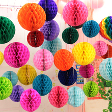 8 inch (20cm) Black White Tiffany Blue Tissue Paper Honeycomb Balls Birthday Baby Shower Wedding Holiday Party Decorations(China)