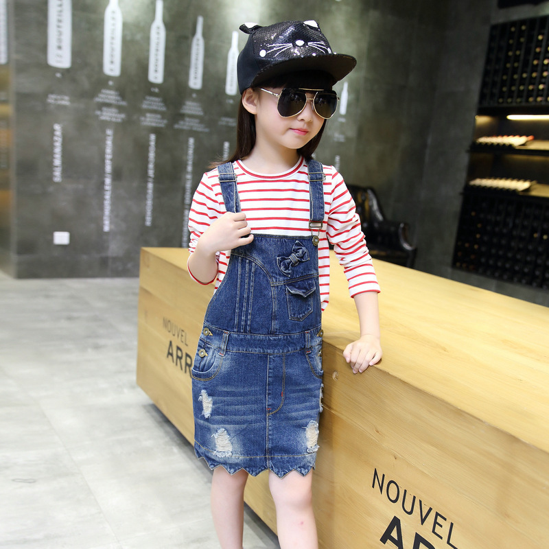 Childrens Garment 2017 Autumn New Pattern Children Korean Girl Bow Holes Cowboy Straps<br>