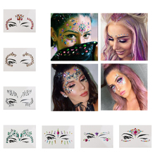 Temporary Rhinestone Tattoo Stickers Face jewels Gems Festival Party Makeup Body Art Gems Flash Tattoo Sticker Stage Make Up(China)