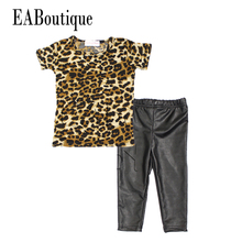 EABoutique New bebe fashion cool kids girls clothes set Leopard printed T-shirt PU skinny leather pants legging