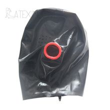 Buy Sexy Black Latex Hood Mask Fetish Open Red Condom Mouth Small Holes Eyes