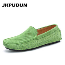 JKPUDUN Summer Breathable Hollow Shoes Men Loafers Luxury Brand Italian Fashion Casual Boat Shoes Men Leather Green Moccasins(China)