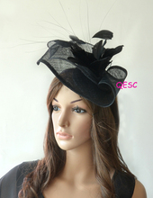 NEW Black Sinamay fascinator hat in SPECIAL shape with feather flower for kentucky derby and wedding.