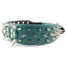 "Durable Leather Spiked Studded Dog Collar 2"" Wide 25 Spikes 44 Studs Blue"