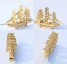 3D wooden model DIY puzzle toy baby gift hand work assemble wood game european sailing boat woodcraft construction kit ship 1pc(China)