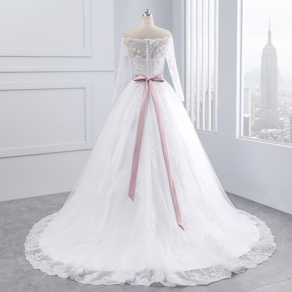 Lover Kiss Wedding Dresses Princess Lace Bridal Bride Gowns with veil robe de mariage Luxury Vintage Long Sleeves off Shoulder 9
