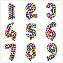 APRICOT Colorful Dot Number Foil Balloons Happy Birthday Wedding Decoration Letter balloon Event Party Supplies
