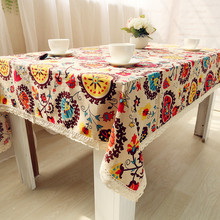 High Quality Table Cloth National Wind Explosion Models Cotton Linen Tablecloth Sun Flower Tablecloths Home Textile