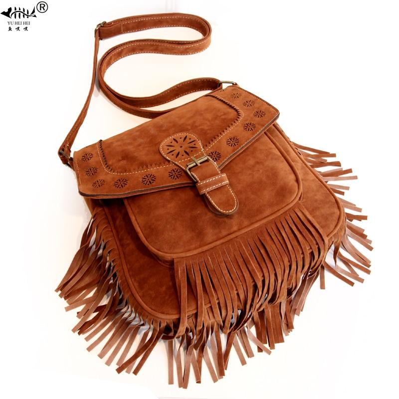 Ladies Tassel Fringe Cross Body Messenger Bag Women Shoulder Tote Satchel Handba