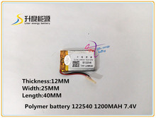 7.4V 1200mAH 122540 Polymer lithium ion / Li-ion battery for DVR RECORD MP3 MP4 GPS SMART WATCH SPORT CAMERA