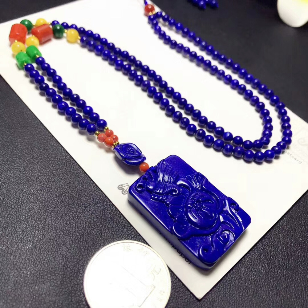 Genuine Natural Royal Blue Lapis Lazuli Flower Craved Pendant 36x24x6mm Gemstone Woman Man Crystal Beads Necklace AAAAAA