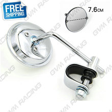 "Chrome Vintage Cafe Racer 3"" Clamp-On Tinted Mirror Rearview Mirrors Moped Motorcycle Backup Mirror Made in TAIWAN Free Shipping"