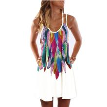 Women Fashion 2017 Boho Style Sexy Printed Plus Size Women Clothing Casual Summer Beach Femme Robe Vestidos Dress WS804Y(China)