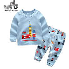 Retail 1-10 years set cotton long-sleeves T-shirt home service + pants cartoon prints soldiers spring fall autumn(China)