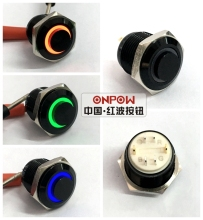 ONPOW 16mm RGB Momentary ring lighted High round Black aluminium alloy Push button switch (GQ16H-10E/J/RGB/6V/A) CE,ROHS