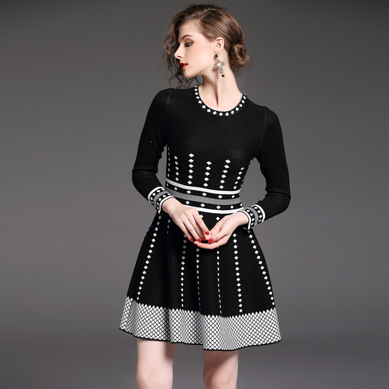 HMCHIME Autumn women boutique knitted dress fashion sexy patchwork round collar long sleeve elastic A line woman dress HM698Îäåæäà è àêñåññóàðû<br><br>