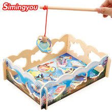 Simingyou Learning Education Magnetic Fishing Toy Puzzle Hands Hands Wooden Montessori Toys A50-8072 Drop Shipping(China)