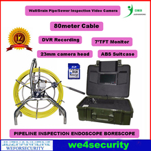 80M IP68 Wall/Drain Pipe/Sewer Inspection Video Camera,Borescope Endoscope W/ DVR 23mm lens ABS Toolbox(China)