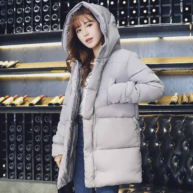 Woman autumn plus size Solid Zipper Full Slim Knee-length thicken down jackets female spring winter hooded warm down parkas Одежда и ак�е��уары<br><br><br>Aliexpress