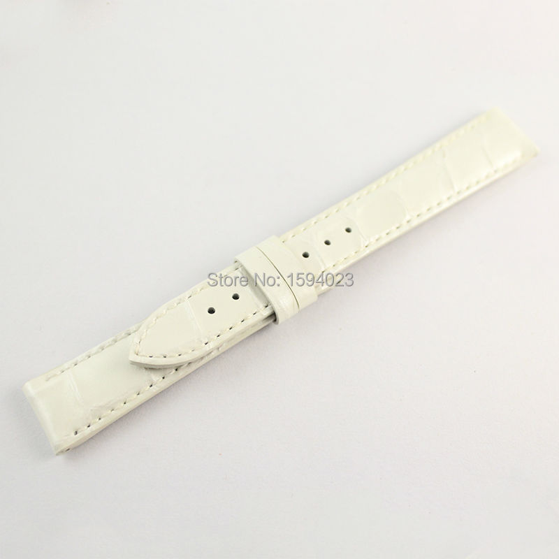 16mm (Buckle14mm) T099 For women White Genuine Leather Coat of paint Watch Bands Strap<br>