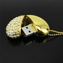 stylish gifts 8/16/32GB USB 2.0 Flash Drive diamond Crystal Heart shaped Pendant Pen Drive(China)
