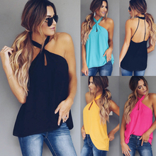 Buy Sexy Backless Tank Top Women Blouse 2018 Summer Korean Fashion Halter Sleeveless Ladies Shirt Casual Solid Loose Vest Tee Tops