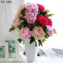 Artificial peony bouquet Super large artificial silk peony flowers bunch/ bouquet with 7/5big heads in high simulation 5 color